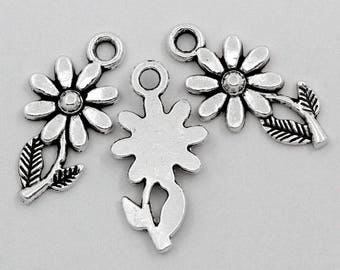 Set of 50 charms in antique silver sunflower flower pendant