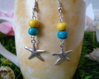Starfish with pearls for pierced earrings