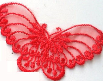 APPLIQUE lace: 80 * 40mm red Butterfly