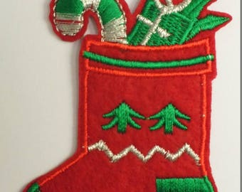 FABRIC FUSIBLE APPLIQUE: boot Christmas 80 * 55mm