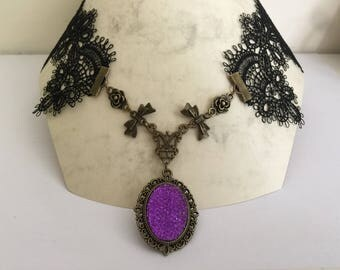 SEMI-LONG NECKLACE CABOCHON PURPLE BLACK LACE GOTHIC STYLE
