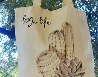 Bag for life-tote bag-hand painted-cactus-cotton bag-shoulder bag-eco-gift-fashion-sustainable design-recycling