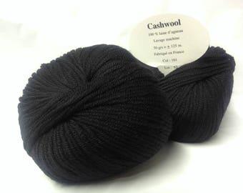 lot 5 balls of wool / 100% Merino Wool / black / made in FRANCE