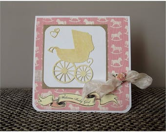 Card congratulations, welcome baby girl newborn girl, pink and its envelope