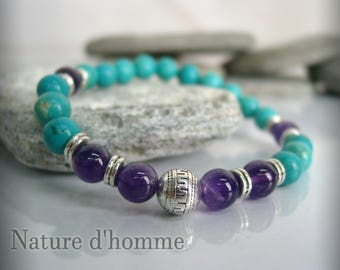Bracelet stones turquoise and Amethyst Ref: BN-237