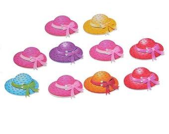 6 buttons chapeaus wooden 30 x 18 mm
