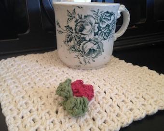 Handmade 100% Cotton Posey Dishcloth - Off White
