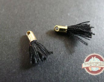 2 fabric charms 12mm gold and black tassels