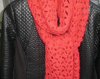 scarf crocheted with alpaca and silk yarn