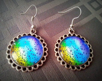 So Fresh, fresh and colorful pattern 20mm glass cabochon earrings, antique silver