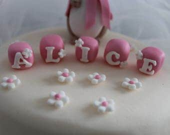 Bespoke. Hand crafted edible decorated letter blocks for birthday/celebration cakes, price per block