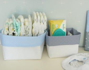 White, blue, gray storage basket