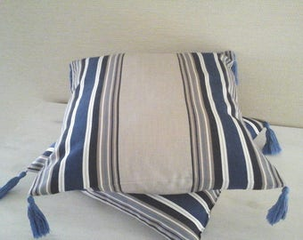 Cushion cover 40 x 40 canvas with blue stripes, taupe and white