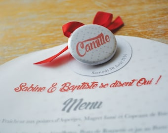 Wedding menu Tandem and badge