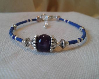 Ethnic bracelet Lapis Lazuli, Amethyst