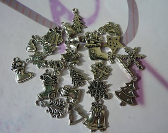 Star 24 Christmas charms, Bell, tree, boot cuffs, silver metal