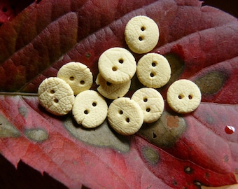 Set of 10 very small buttons yellow porcelain