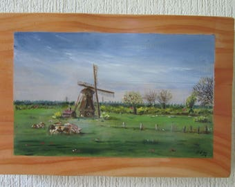 Holland landscape on wood