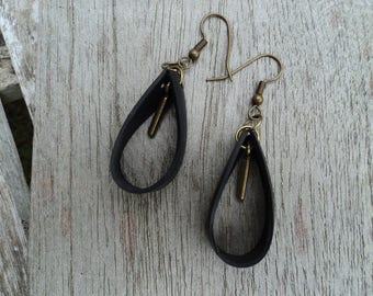 Earrings drop in inner tube recycled and bronze charm