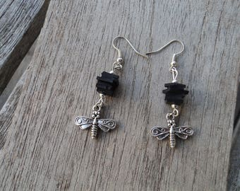 Earrings dangling Dragonfly and room inner - fancy earrings - dangle charms