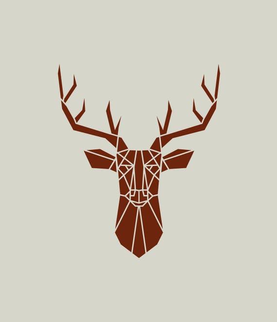 Cerf pochoir de cerf dessin de cerf t te de cerf ref 408 for Tete de chevreuil decoration