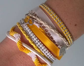 Cuff Bracelet with Magnet Clip yellow/white