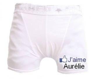 White men underwear I aime.personnalise with name