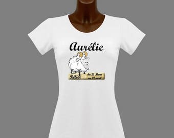 Zodiac Aries women white t-shirt personalized with name