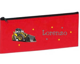 Red backhoe personalized with name package
