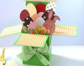 Easter card 3D pop up, multicolored eggs card. Hand made