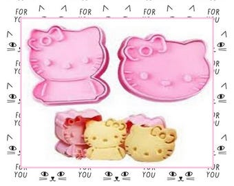 """2 Cutter: for making biscuits """"Hello Kitty"""" - 2 varied forms"""