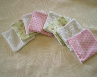8 washable wipes bamboo - cotton 'floral' green and pink