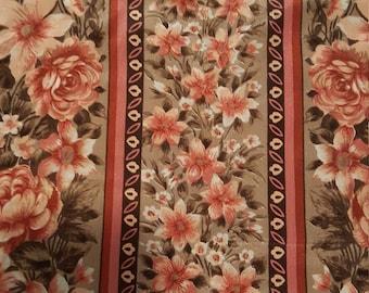 Vintage Oscar de la Rente scarf, 54x12, vintage scarf, beautiful scarf, floral design scarf, brown and pink scarf, flower design scarf