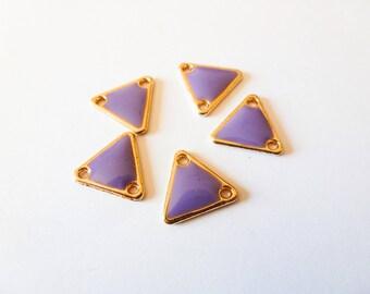 5 connectors 11 * 12mm gold tone and purple epoxy (SFBD05) triangle
