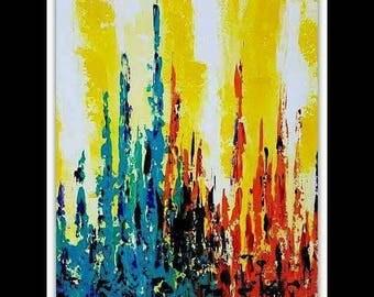 Modern abstract art painting 24x 20 yellow orange blue / Art moderne peinture abstraite jaune orange bleu