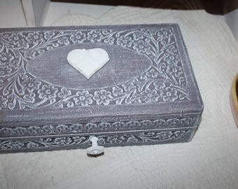Purple weathered exotic wooden box