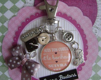 "Keychain / bag charm ""Cute phrase"""