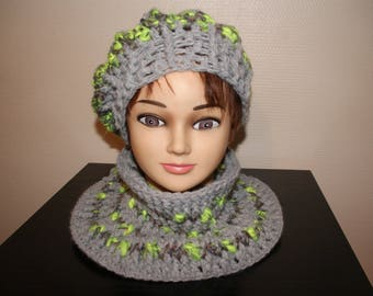 SNOOD GRAY AND LIME GREEN