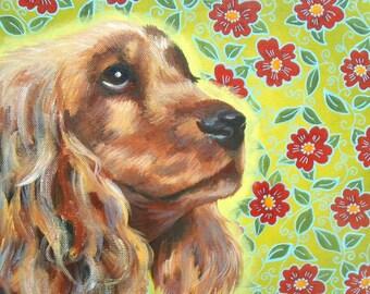 "Dog (cocker) - acrylic painting on canvas: ""Ice cream"""