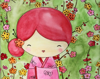 "KOKESHI - Watercolor on canvas: ""Mariko & sakura"""