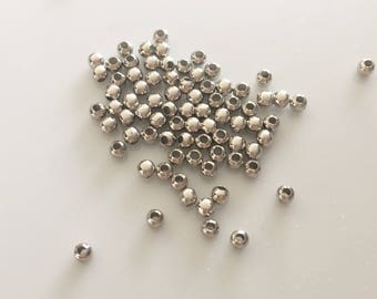 lot 100 aged silver round beads 3mm