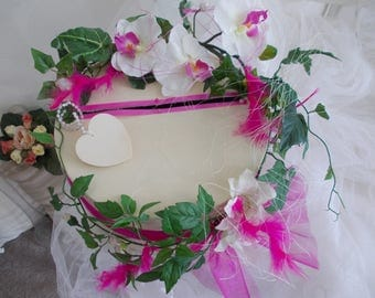 urn wedding fuchsia and ivory orchids