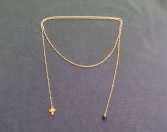 onyx and gold with Pearl Lariat Necklace