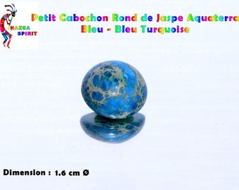 Cabochon round 1.6 cm by 7 mm thick Turquoise Blue Aquaterra Jasper