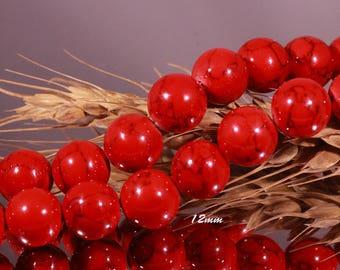 10 Red veined black 12mm jade stone beads