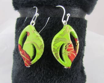Earring hook - openwork green/red/gold acrylic bead