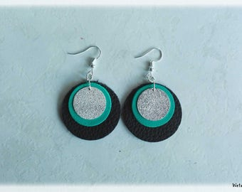 Earrings - round leather earrings black/turquoise/sequins silver plated brass