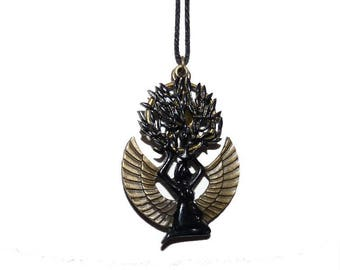 Tree of life and Isis Egyptian goddess pendant necklace jewelry etsy kids boy girl