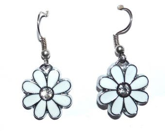 Earrings white rhinestone jewelry on etsy for woman with a white wedding party flower girl party