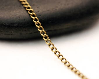 Set of 5 meters of 2 BRONZE curb chain, 5x2mm